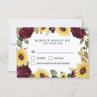 Sunflower and Roses Burgundy Red Rustic Wedding RSVP Card