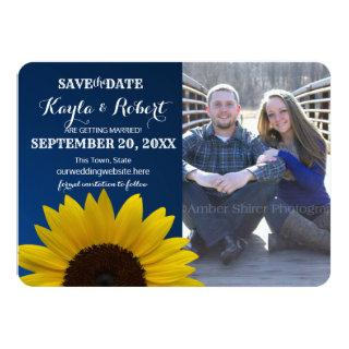 Sunflower and Sapphire Photo Save the Date Invitations