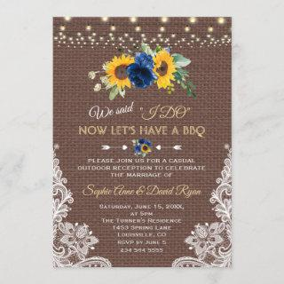 Sunflower Blue Floral Lace Burlap Wedding I DO BBQ Invitation
