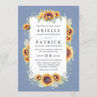Sunflower Blue Watercolor Rustic Themed Wedding Invitations