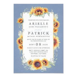 Sunflower Blue Watercolor Rustic Themed Wedding Invitation