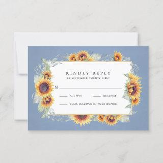Sunflower Blue Watercolor Rustic Themed Wedding RSVP Card