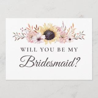 Sunflower Bouquet Will You Be My Bridesmaid