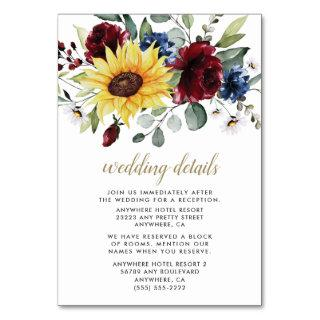 Sunflower Burgundy and Navy Wedding Enclosure Card