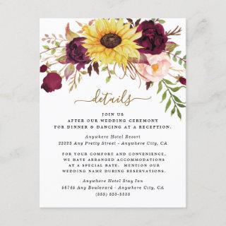 Sunflower Burgundy Gold Blush Peony Rose Wedding Enclosure Card