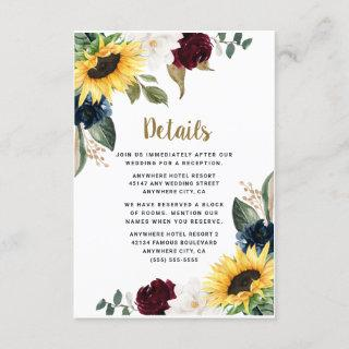 Sunflower Burgundy Red and Navy Blue Roses Wedding Enclosure Card