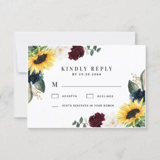 Sunflower Burgundy Red and Navy Blue Roses Wedding RSVP Card