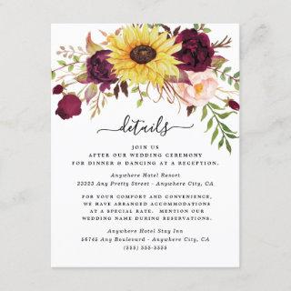 Sunflower Burgundy Red Blush Peony Rose Wedding Enclosure Card