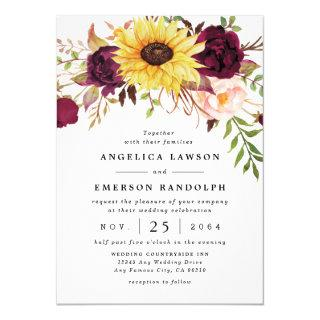 Sunflower Burgundy Red Blush Peony Rose Wedding Invitations