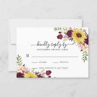 Sunflower Burgundy Red Blush Peony Rose Wedding RSVP Card