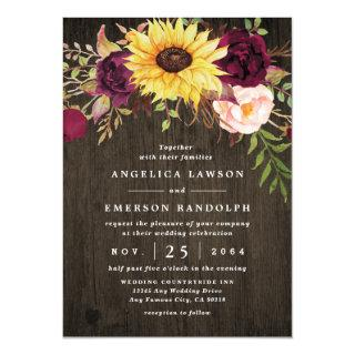 Sunflower Burgundy Red Roses Rustic Wood Wedding Invitations