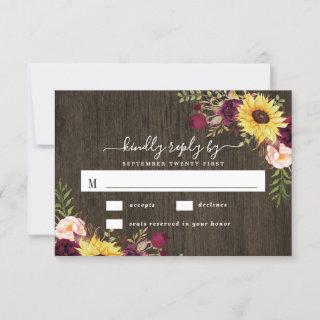 Sunflower Burgundy Red Roses Rustic Wood Wedding RSVP Card