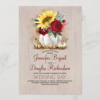 Sunflower Burgundy Rose Gold Pumpkin Fall Wedding Invitation