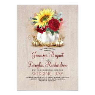 Sunflower Burgundy Rose Gold Pumpkin Fall Wedding Invitations