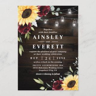 Sunflower Burgundy Rose Mason Jar Themed Wedding Invitation