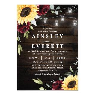 Sunflower Burgundy Rose Mason Jar Themed Wedding Invitations