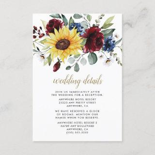 Sunflower Burgundy Roses Navy Blue Rustic Wedding Enclosure Card
