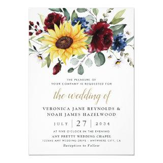 Sunflower Burgundy Roses Navy Blue Rustic Wedding Invitations