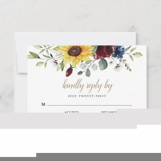 Sunflower Burgundy Roses Navy Blue Rustic Wedding RSVP Card