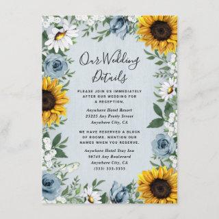 Sunflower Dusty Blue Country Rustic Roses Wedding Enclosure Card