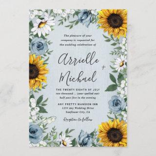 Sunflower Dusty Blue Country Rustic Roses Wedding Invitations