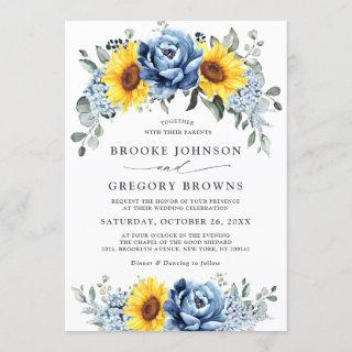 Sunflower Dusty Blue Slate Peony Floral Wedding Invitations