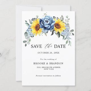 Sunflower Dusty Blue Slate Peony Floral Wedding Save The Date