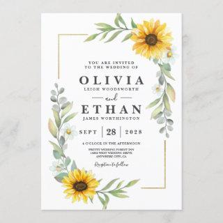 Sunflower Elegant Rustic Geometric Gold Invitation