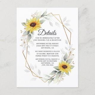 Sunflower Elegant Rustic Geometric Gold Wedding Enclosure Card