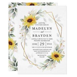 Sunflower Elegant Rustic Geometric Gold Wedding Invitations