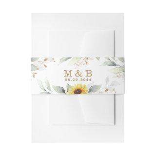 Sunflower Elegant Rustic Geometric Gold Wedding Invitations Belly Band