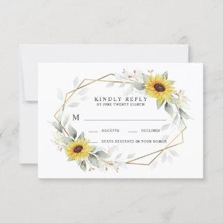 Sunflower Elegant Rustic Geometric Gold Wedding RSVP Card