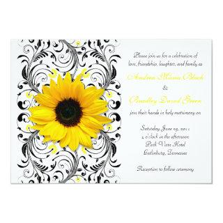 Sunflower Floral Wedding Invitations