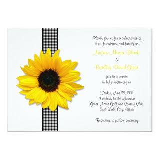 Sunflower Gingham Check Ribbon Wedding Invitations
