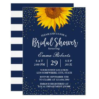Sunflower Gold Confetti Navy Blue Bridal Shower Invitation
