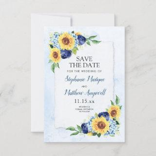 Sunflower Hydrangea Blue Watercolor Wedding Save The Date