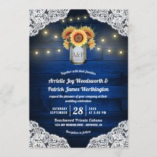Sunflower Mason Jar Blue Wood Wedding Invitations