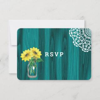 Sunflower Mason Jar Wood Rustic Wedding RSVP Card