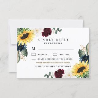 Sunflower Meal Choice Burgundy Navy Roses Wedding RSVP Card