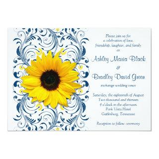 Sunflower Navy Blue Floral Wedding Invitations