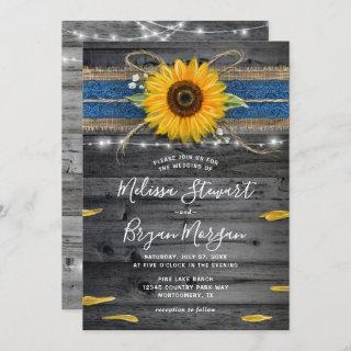 Sunflower Navy Blue Lace Rustic Wood Wedding Invitations