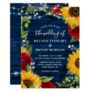 Sunflower Navy Blue Red Rose Rustic Wood Wedding Invitation