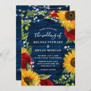 Sunflower Navy Blue Red Rose Rustic Wood Wedding Invitations