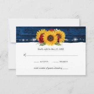 Sunflower Navy Blue Red Rose Rustic Wood Wedding RSVP Card