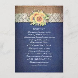 Sunflower Navy Wedding Information Guest Card