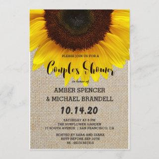 Sunflower on Burlap Rustic Country Couple's Shower Invitation