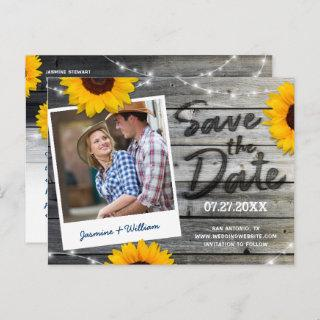 Sunflower Photo Gray Rustic Wedding Save the Date Announcement Postcard
