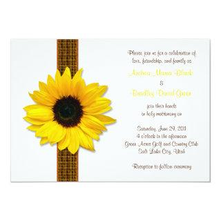 Sunflower Plaid Ribbon Wedding Invitations