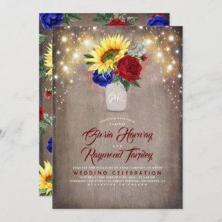 Sunflower Radiant Bloom Mason Jar Fall Wedding Invitations