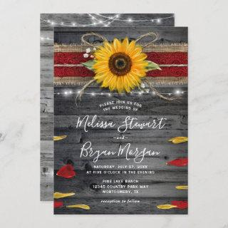 Sunflower Rose Burgundy Lace Rustic Wood Wedding Invitations